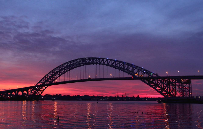 Photo wallpaper the sky, sunset, clouds, bridge, lights, reflection, river, the evening, lights, USA, USA, twilight, twilight, …