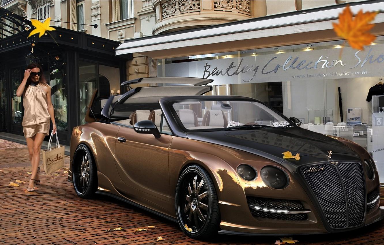 Photo wallpaper leaves, girl, street, shop, Bentley Continental, Virtual Tuning
