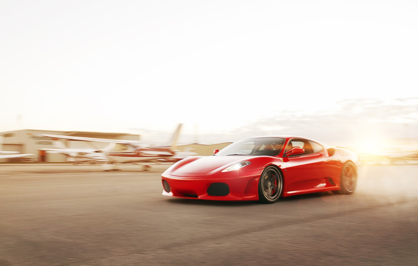 Photo wallpaper the sun, red, speed, F430, Ferrari, red, Ferrari, Blik, the airfield, runway, WHEELS, ADV 1