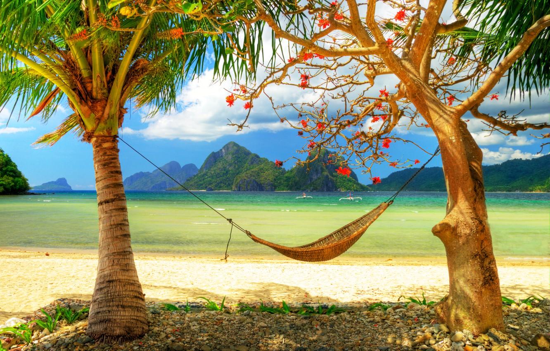 Photo wallpaper sand, beach, mountains, palm trees, the ocean, shore, boats, horizon, hammock, romantic, Paradise, area, Ostrava