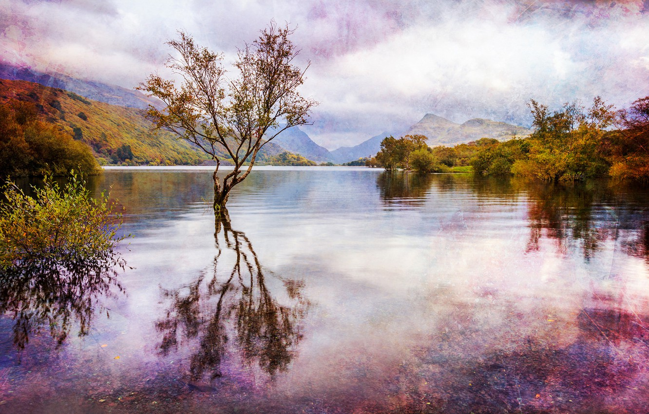 Photo wallpaper autumn, water, clouds, trees, landscape, mountains, lake, reflection, England, treatment, Wales, Great Britain, Wales, Snowdonia, …