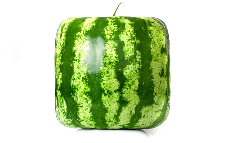 Photo wallpaper rendering, square, watermelon, cube, square watermelon