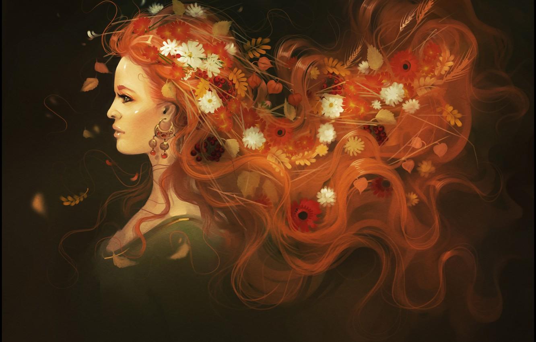 Photo wallpaper autumn, girl, flowers, hair, beauty, art, red