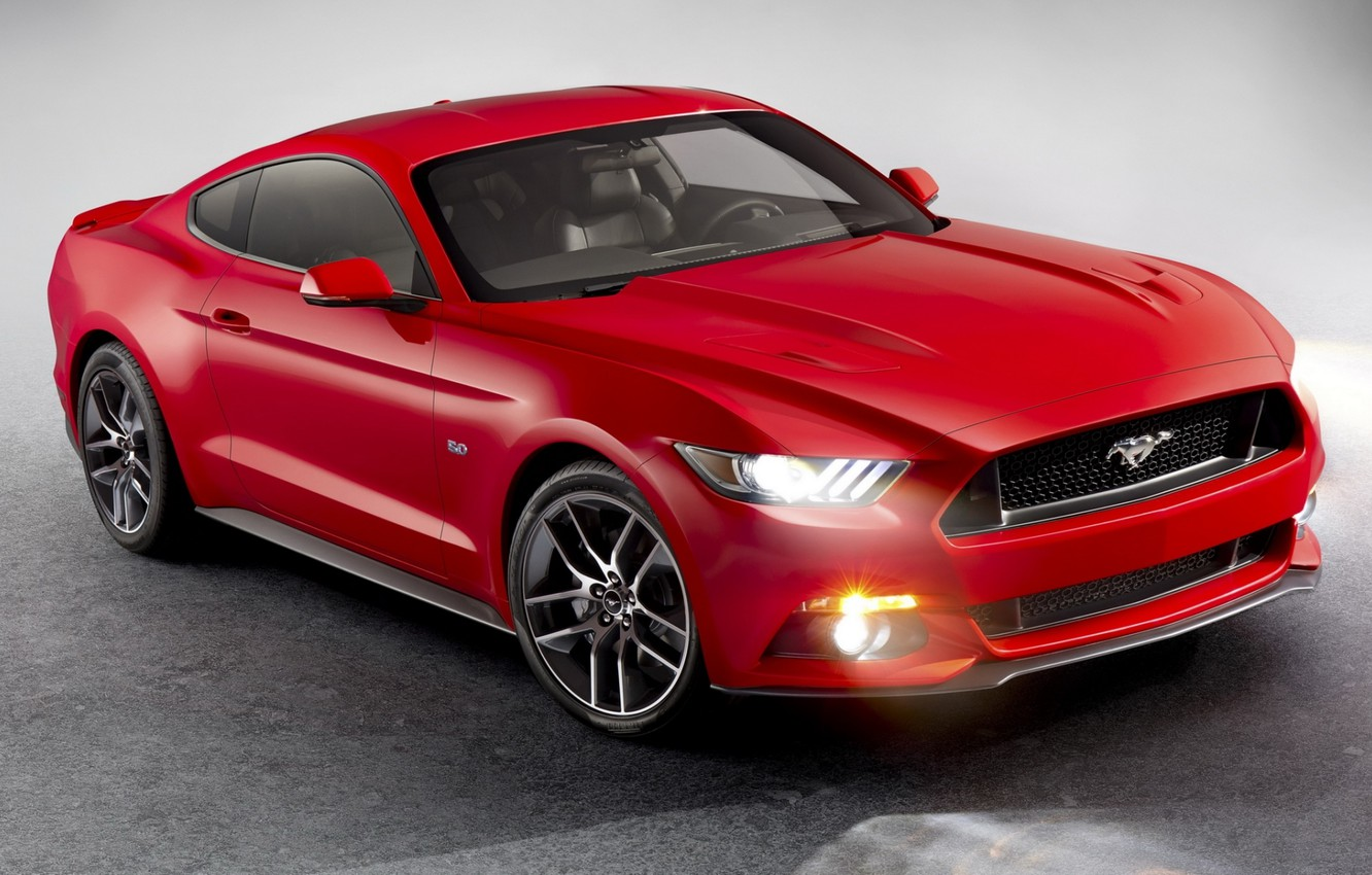 Photo wallpaper red, Mustang, Ford, Ford, Mustang, the front, Muscle car, Muscle car