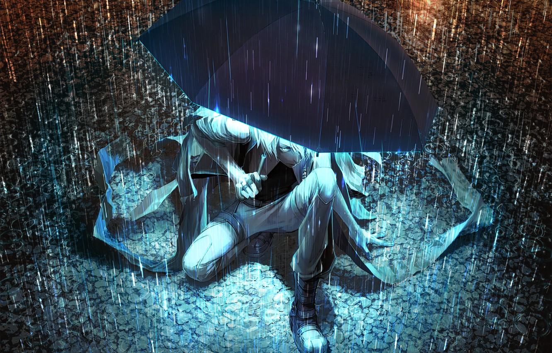 Photo wallpaper light, night, umbrella, rain, umbrella, art, puddles, guy, Yuanmaru
