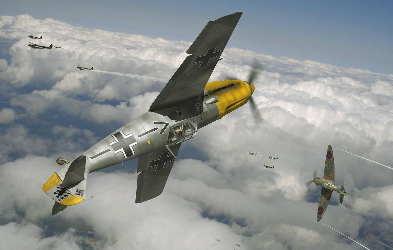 Photo wallpaper the sky, figure, art, aircraft, dogfight, WW2, British, German