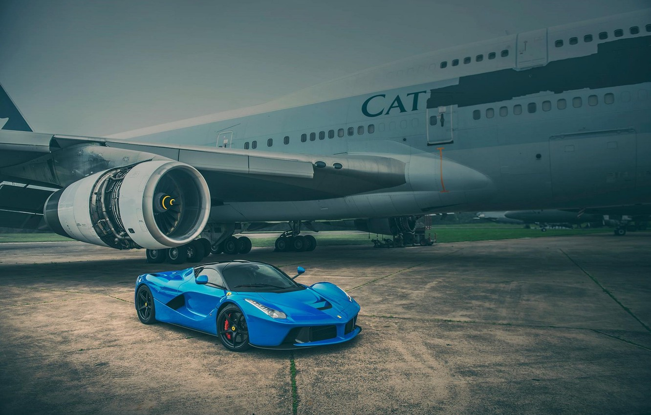 Photo wallpaper Ferrari, Blue, Front, Supercar, LaFerrari, Plane, Runway