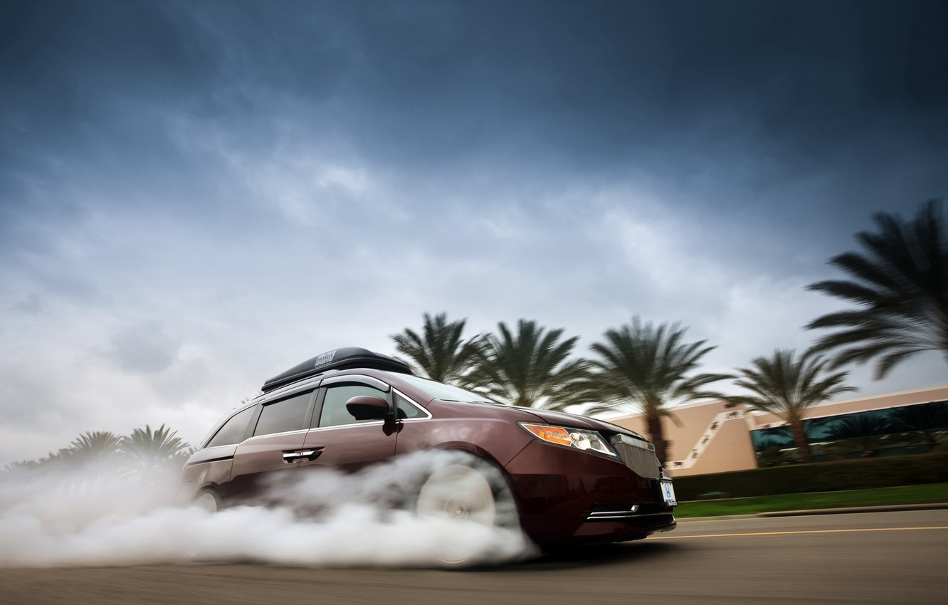Photo wallpaper Honda, Smoke, 2014, Minivan, Odyssey, 1029hp