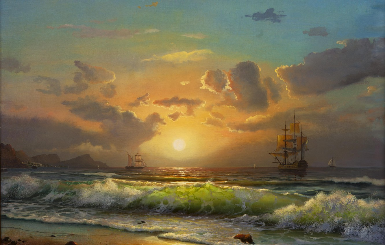 Photo wallpaper shore, sails, painting, the sky. clouds, sea. wave. ships