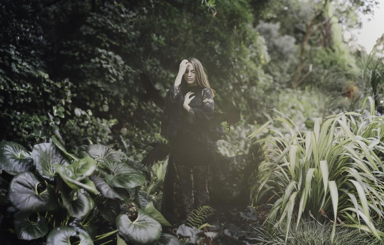 Photo wallpaper girl, birds, pose, plants, dress, crows