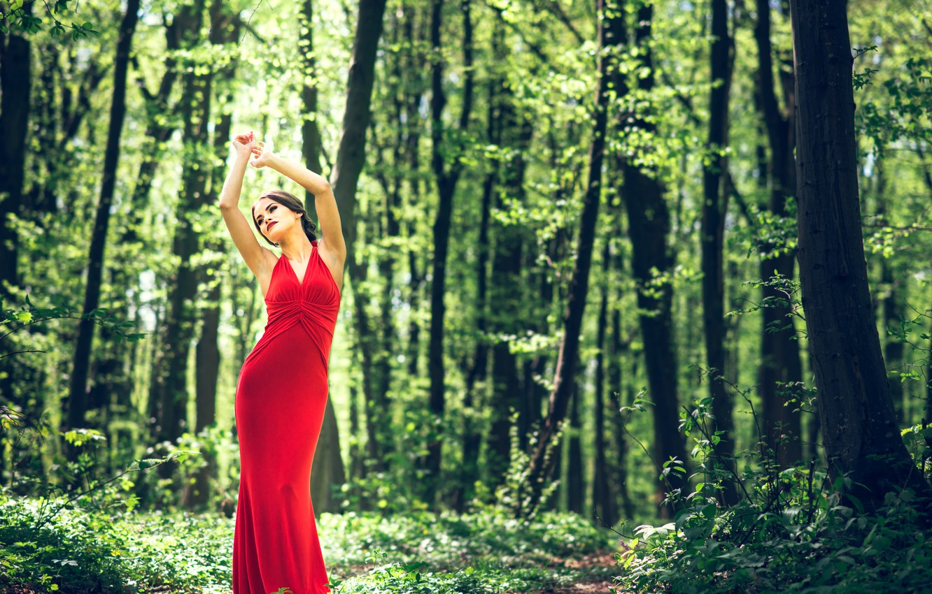 Photo wallpaper red, girl, summer, fantasy, sexy, forest, fashion, dress, design, nature, style, woman, wood, young, lifestyle, …