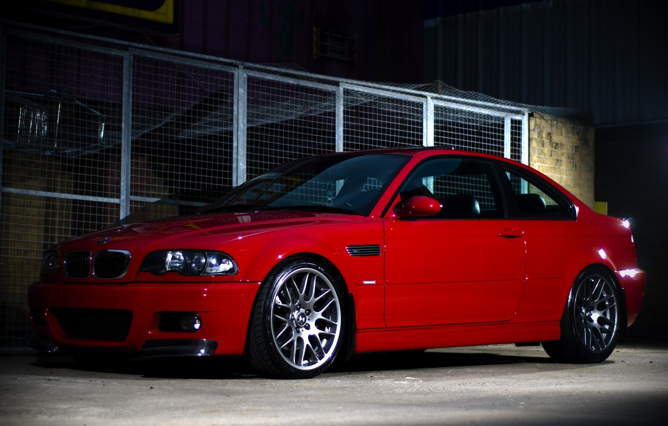 Photo wallpaper red, bmw, BMW, coupe, red, reflections, e46