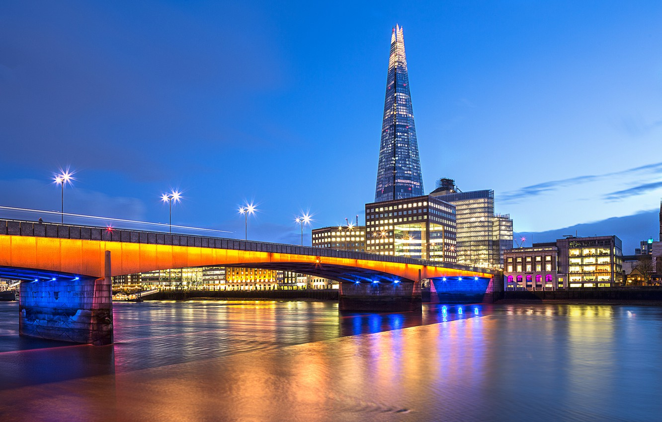 Photo wallpaper the sky, clouds, bridge, city, the city, lights, river, England, London, the evening, excerpt, lighting, …