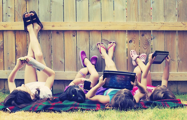Photo wallpaper greens, grass, children, girls, tree, stay, feet, technique, meadow, girl, phone, iphone, tablet, girls, mood, …