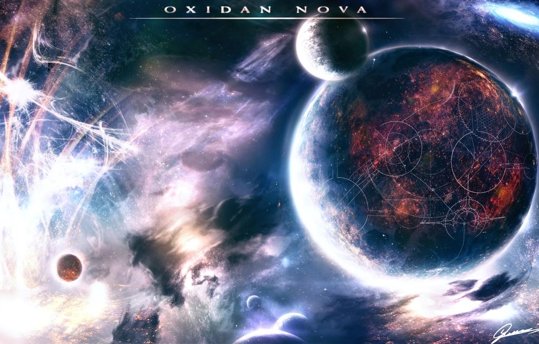 Photo wallpaper space, planet, stars, Oxidan nova