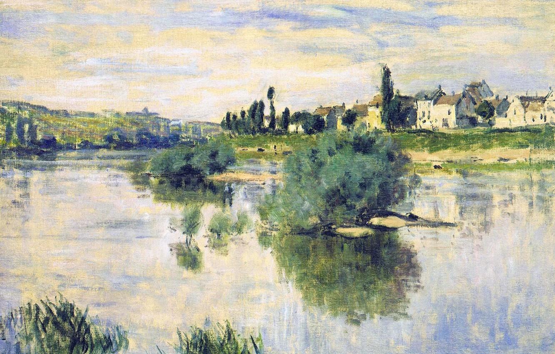 Photo wallpaper landscape, river, picture, Claude Monet, Hay in Lavacore