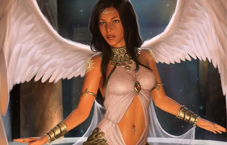 Photo wallpaper pose, angel, art, angel, girl. look. wings