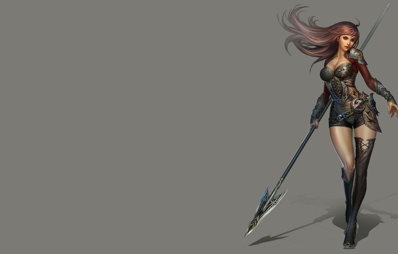 Photo wallpaper girl, weapons, the game, armor, warrior, art, China, spear, character