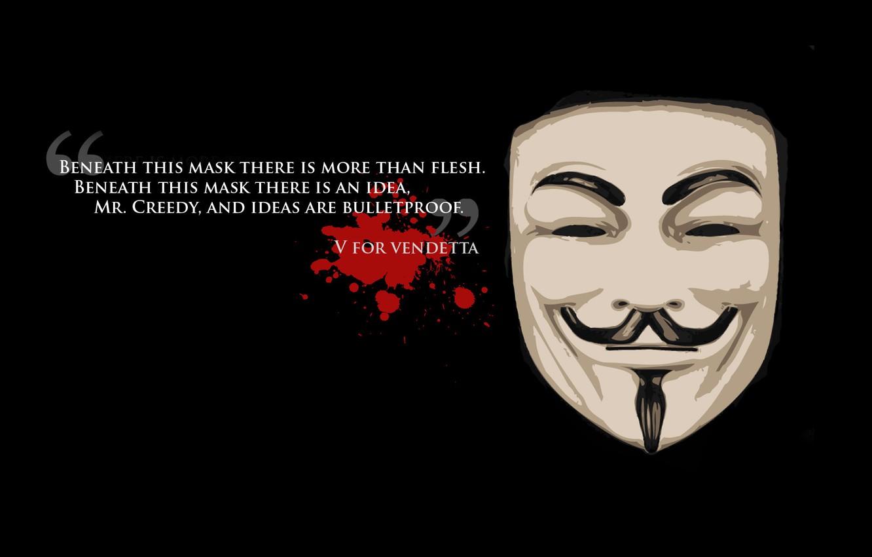 Photo wallpaper freedom, background, black, mask, freedom, quote, v for vendetta