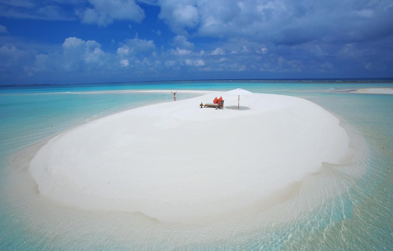 Photo wallpaper sand, beach, water, girl, clouds, background, the ocean, widescreen, Wallpaper, wallpaper, girl, the Maldives, beach, …