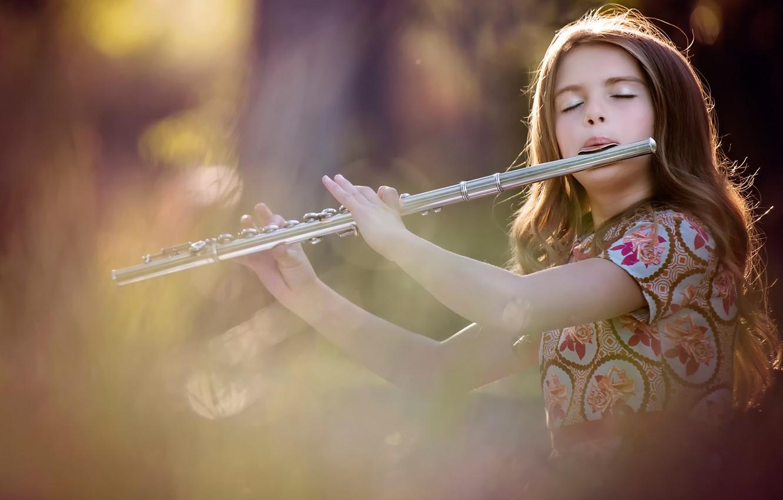 Photo wallpaper the game, girl, flute