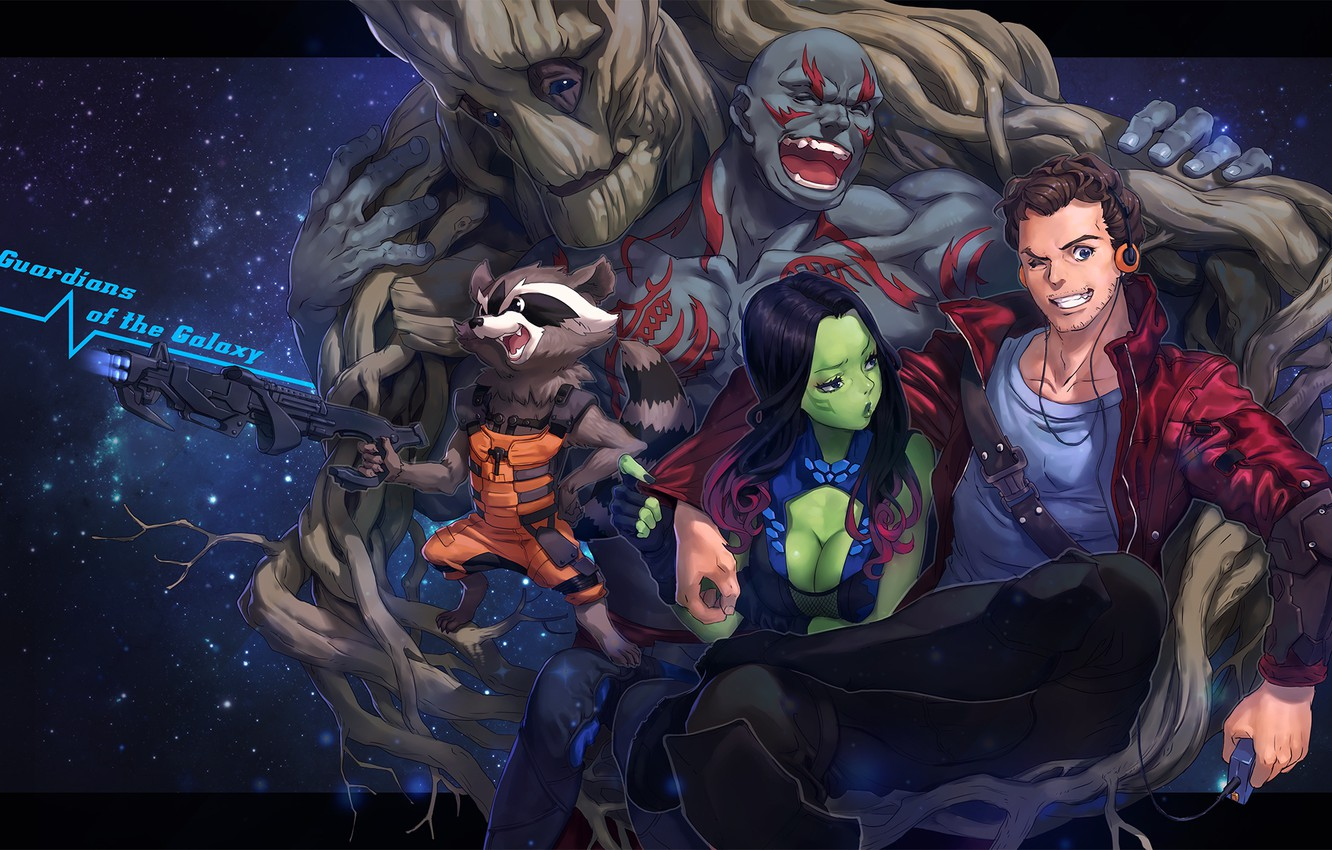 Photo wallpaper girl, smile, weapons, guys, hugs, art, embarrassment, groot, guardians of the galaxy, gamora, peter quill, …
