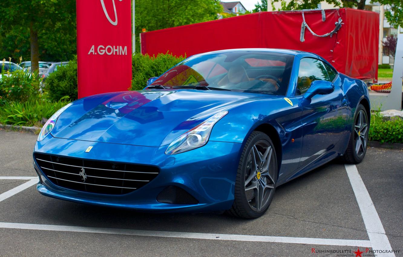 Photo wallpaper Ferrari, blue, California, 2014