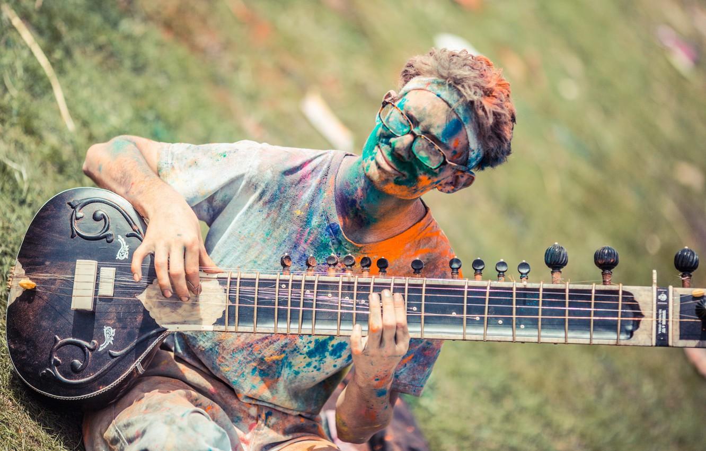 Photo wallpaper music, Spanish Folk, Festival of Colors, sitar