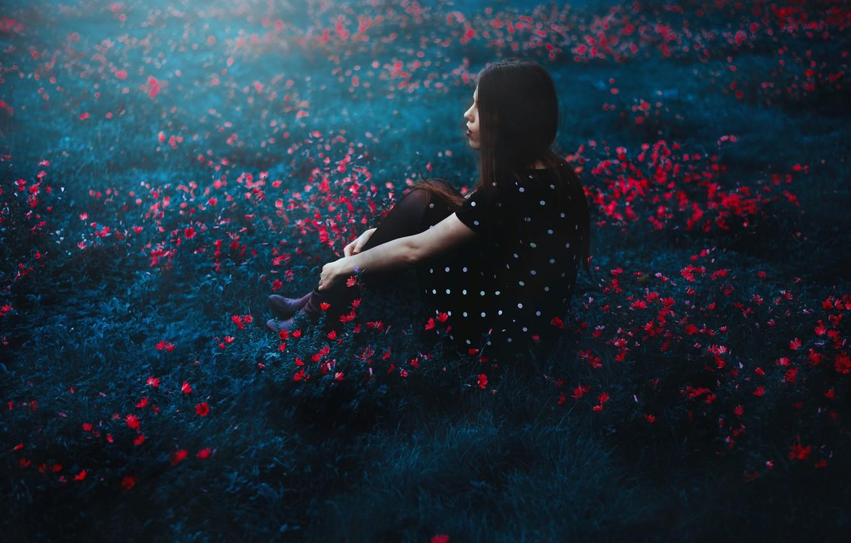 Photo wallpaper girl, nature, mood, Selfportrait