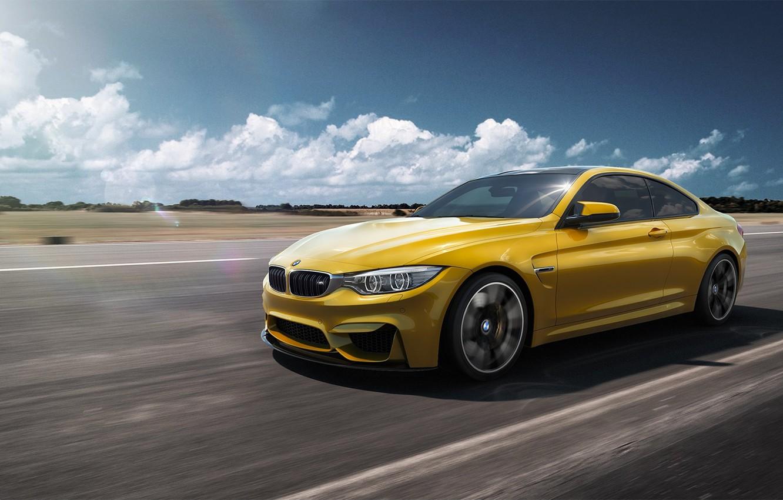 Photo wallpaper BMW, German, Car, Speed, Front, Yellow, F82
