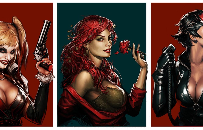Photo wallpaper batman, harley quinn, DC Comics, Catwoman, Selina Kyle, Poison Ivy, Poison Ivy