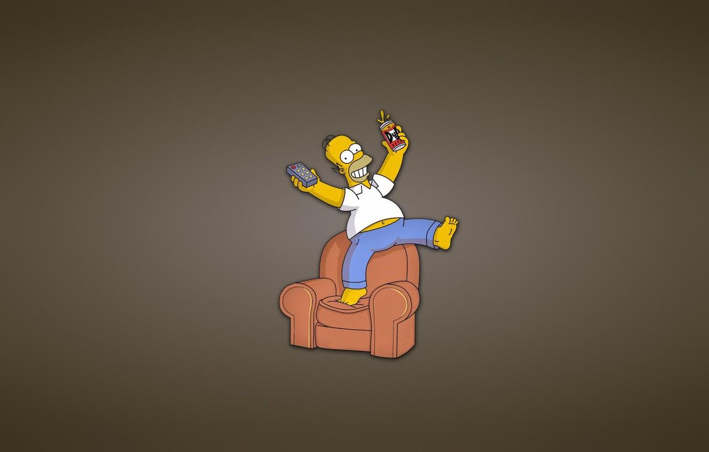 Wallpaper Sofa The Simpsons Minimalism Chair Remote Bank Homer