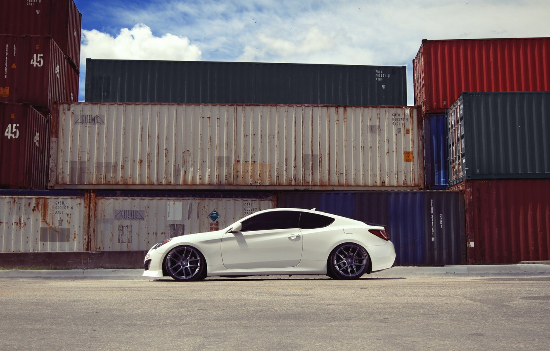 Photo wallpaper white, coupe, profile, white, containers, hyundai, Hyundai, genesis, Genesis