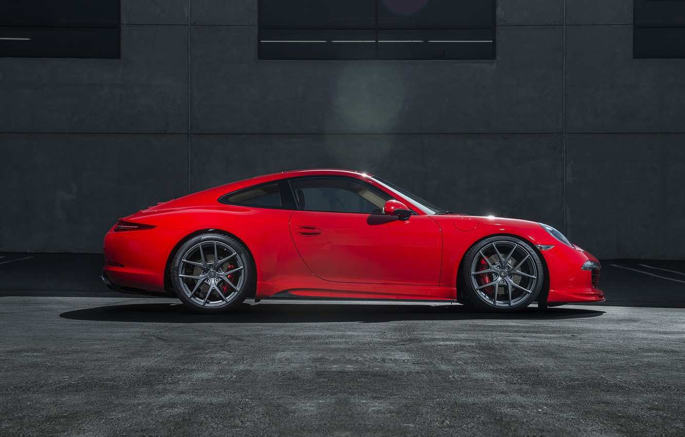 Photo wallpaper Porsche, red, side, Porsche, 991, Carerra S