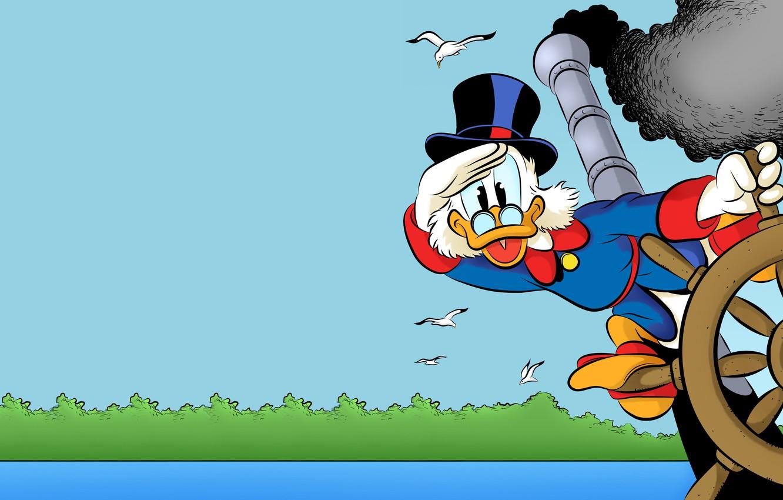 Photo wallpaper water, birds, seagulls, the wheel, disney, Scrooge McDuck, Ducktales, DuckTales, Scrooge McDuck