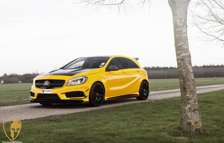 Photo wallpaper Mercedes, AMG, yellow, A45, automotive, A45AMG, mulgari