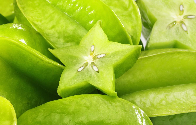 Photo wallpaper green, Average, carambola, Averrhoa carambola, tropical star
