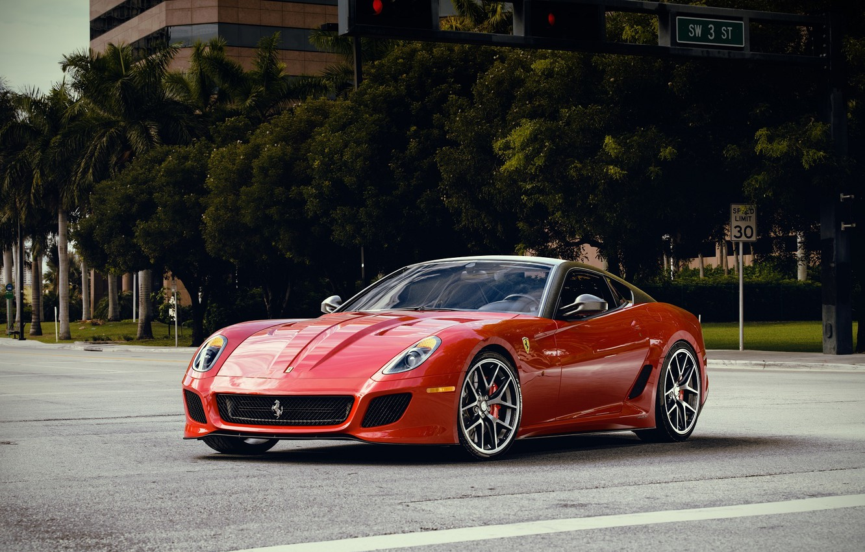 Photo wallpaper Red, Ferrari, Red, 599, Supercar, GTO, Supercar