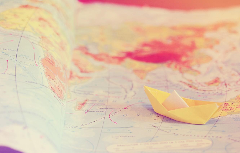 Photo wallpaper travel, tenderness, map, boat