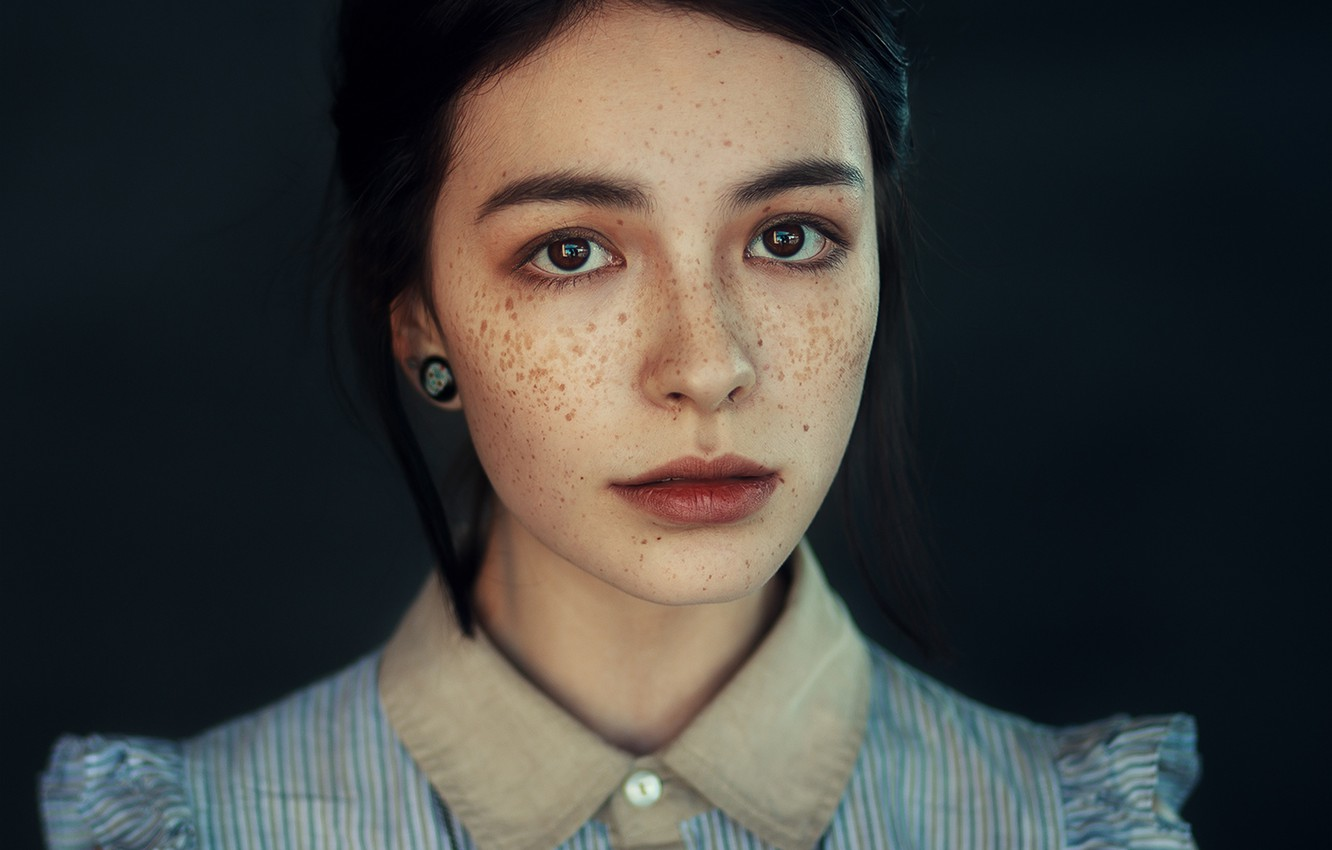 Photo wallpaper Girl, Beauty, View, Face, Lips, Hair, Freckles, Astana, Nice, Kazakhstan, Fran Ackermann