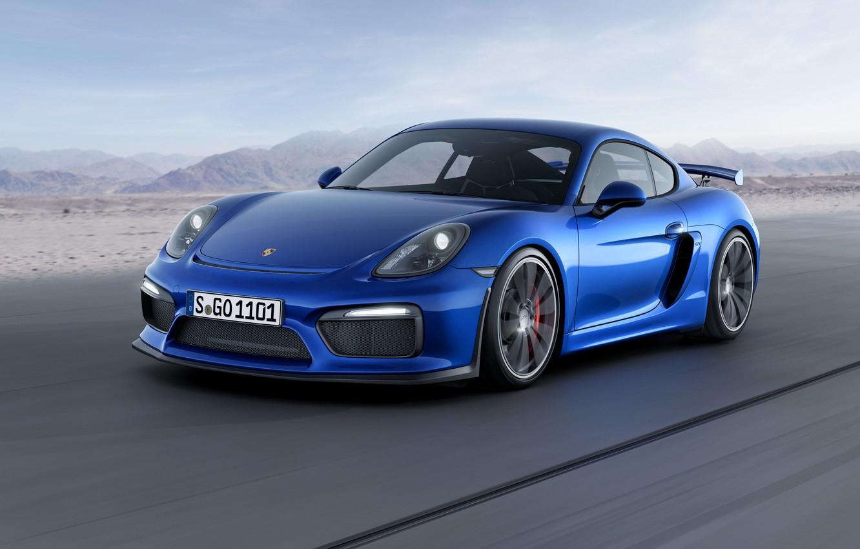 Photo wallpaper the sky, mountains, blue, background, Porsche, Cayman, Porsche, the front, GT4, Caiman