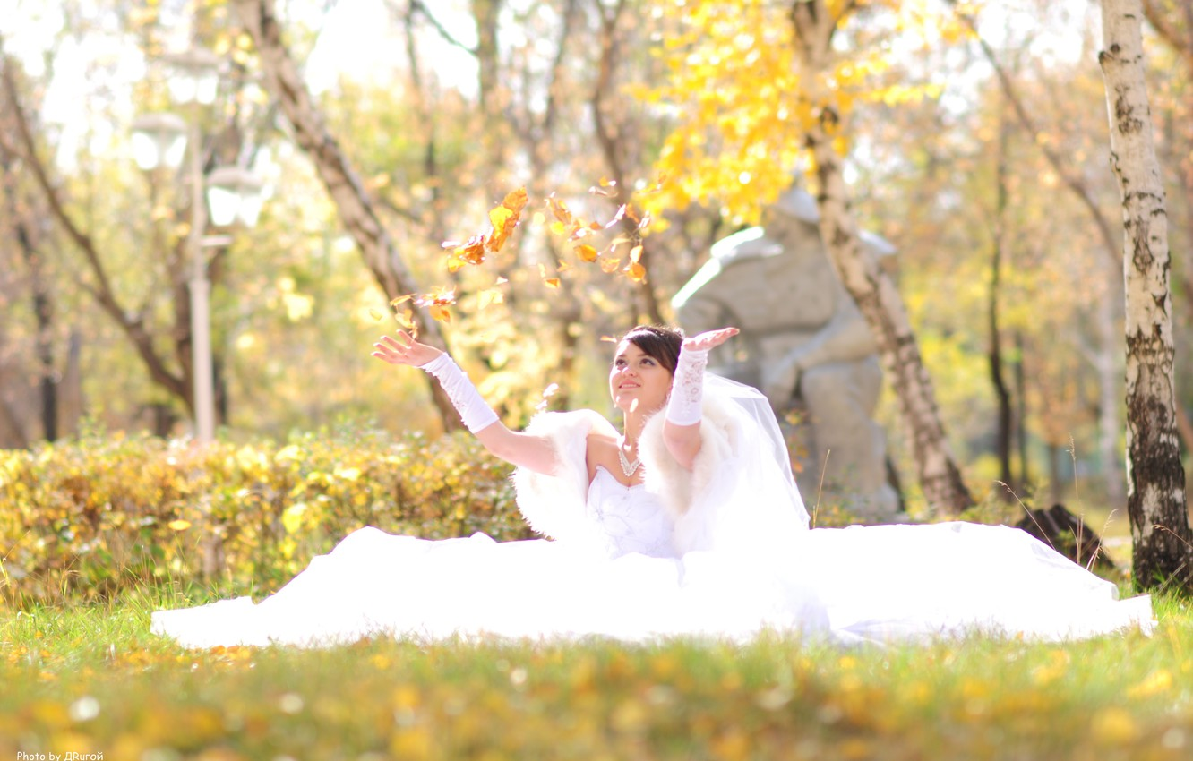 Photo wallpaper autumn, girl, happiness, foliage, sitting, the bride