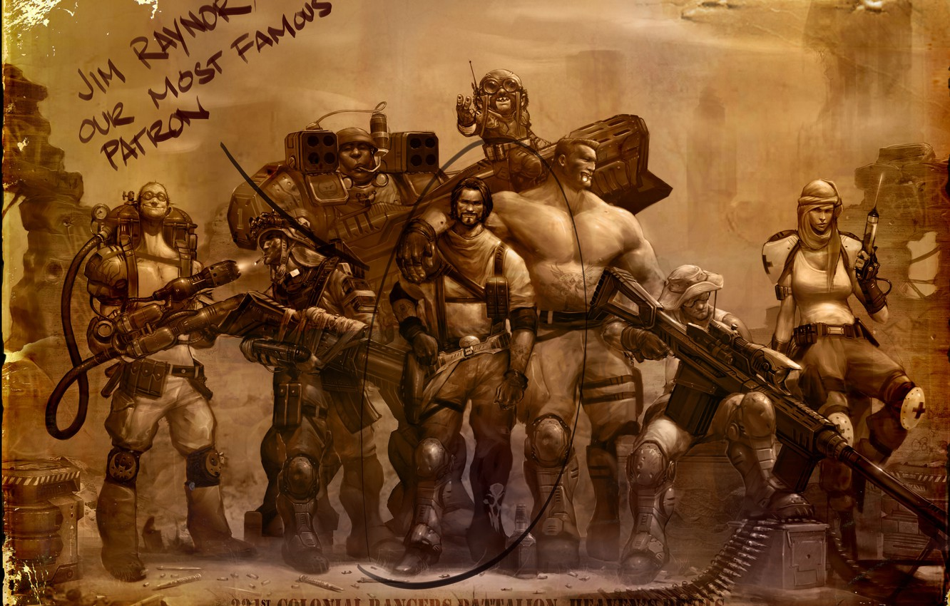 Photo wallpaper weapons, photo, soldiers, sniper, StarCraft 2, raiders, medic, Jim Raynor