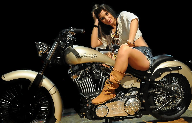 Photo wallpaper look, girl, motorcycle