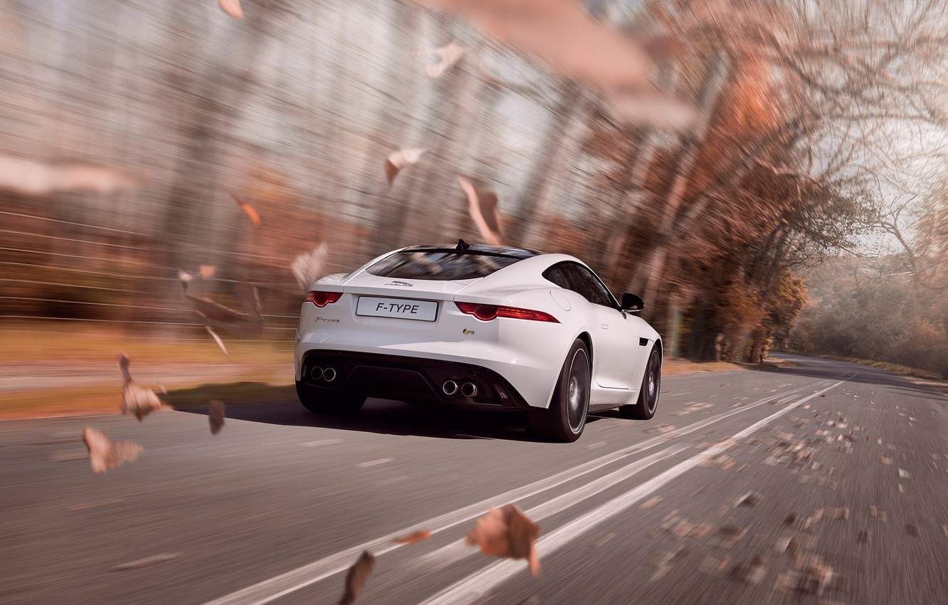 Photo wallpaper Jaguar, Car, Speed, Coupe, White, Sport, F-Type, Rear