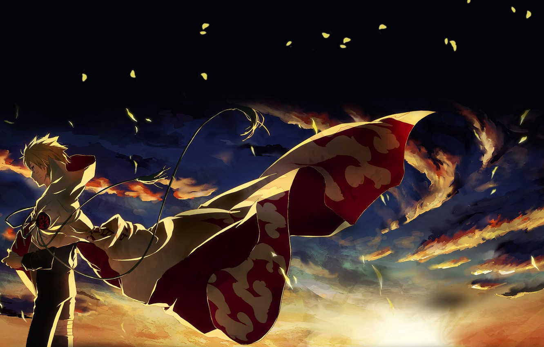 Photo wallpaper leaves, sunset, clouds, the wind, naruto, ninja, Naruto, Hokage, hokage