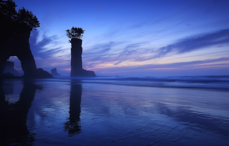 Photo wallpaper trees, rocks, shore, Japan