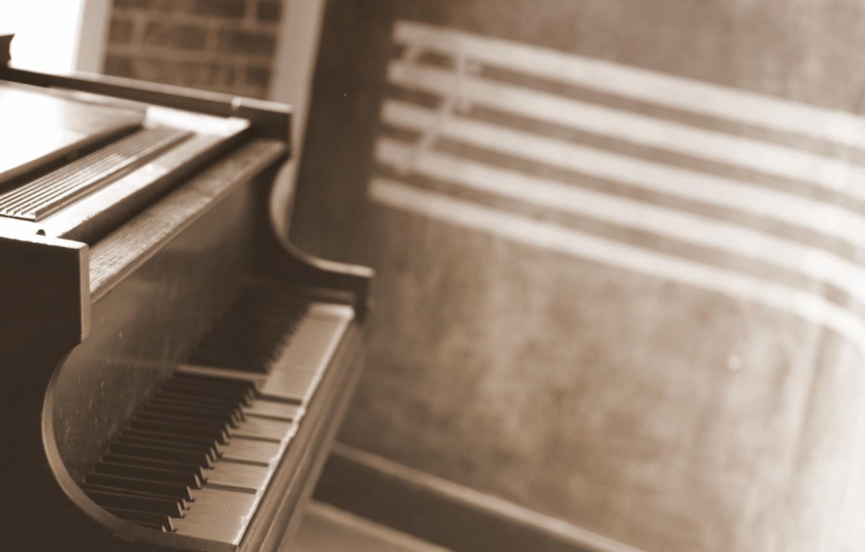 Photo wallpaper keys, piano, musical instrument