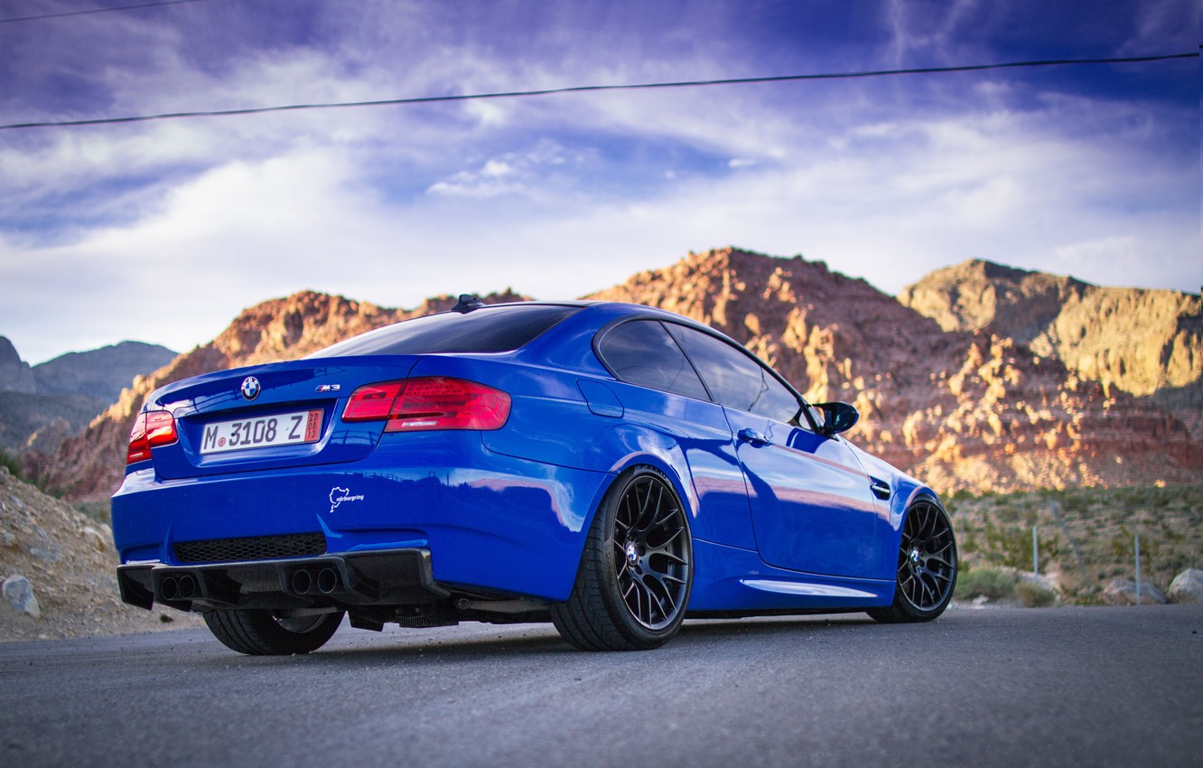 Photo wallpaper road, the sky, clouds, mountains, blue, bmw, BMW, blue, back, e92