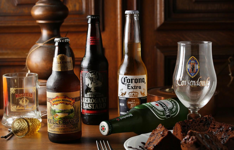 Photo wallpaper glass, beer, bottle